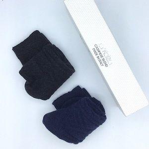 Frankalza Cashmere Wool Crew Socks Blue Gray
